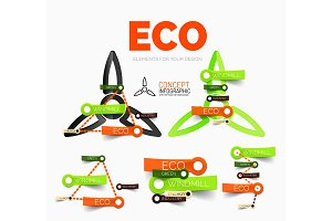 Vector diagram elements set of eco windmill concept icons with plastic paper style stickers