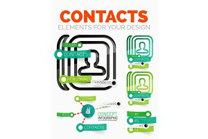 Vector diagram elements set of contacts book concept icons with plastic paper style stickers
