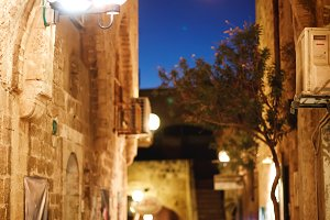 Old town Jaffa street in the evening