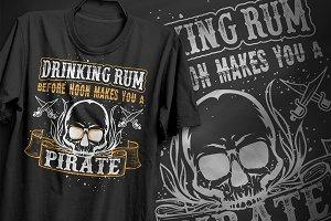 Drinking rum Pirate - T-Shirt Design