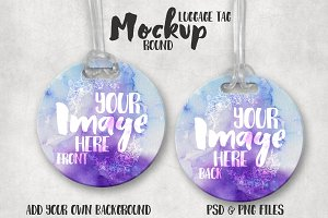 Round Luggage Tag Mockup