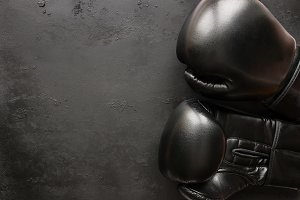 boxing gloves on a black background