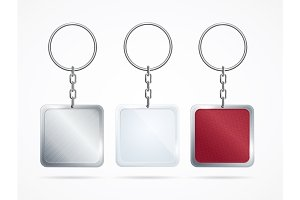 Metal and Plastic Keychains Set