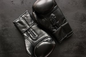 black boxing gloves close-up