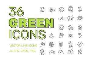 36 GREEN ENERGY Icons