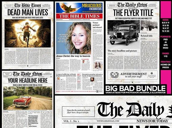 5 newspaper style templates bundle magazine templates creative 5 newspaper style templates bundle magazines pronofoot35fo Choice Image