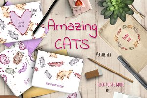 Amazing Cats - Vector set