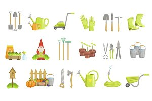 Gardening Equipment Set Of Icons