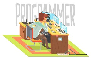 Hacker, working at a laptop, vector illustration