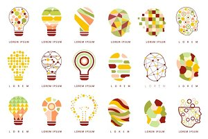 Idea Bulb Different Geometric Abstract Design Icons