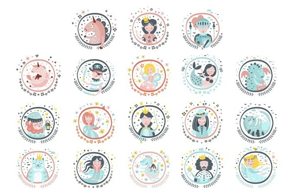 Fairy Tale Heroes Girly Stickers In…