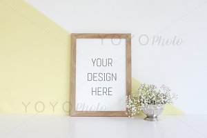 Empty Wooden Frame Photo Mockup