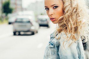 blonde woman on street