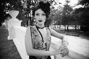 luxury woman in retro style