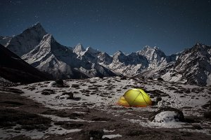 Tent in Himalayas at night