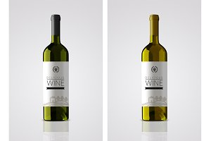 Bottle wine label mockup
