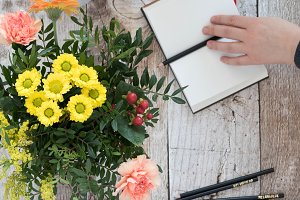 Notebook & summer flowers Photo set