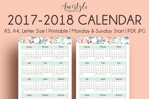 Printable Calendar - 2017 -2018