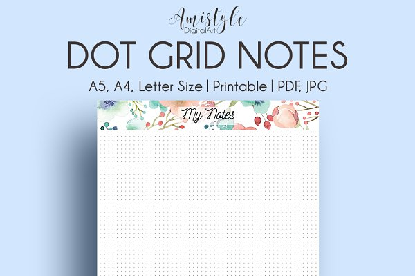Coral-Mint Dot Grid Note Page