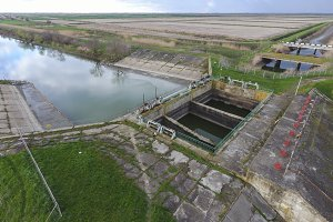 Water pumping station of irrigation system of rice fields. View