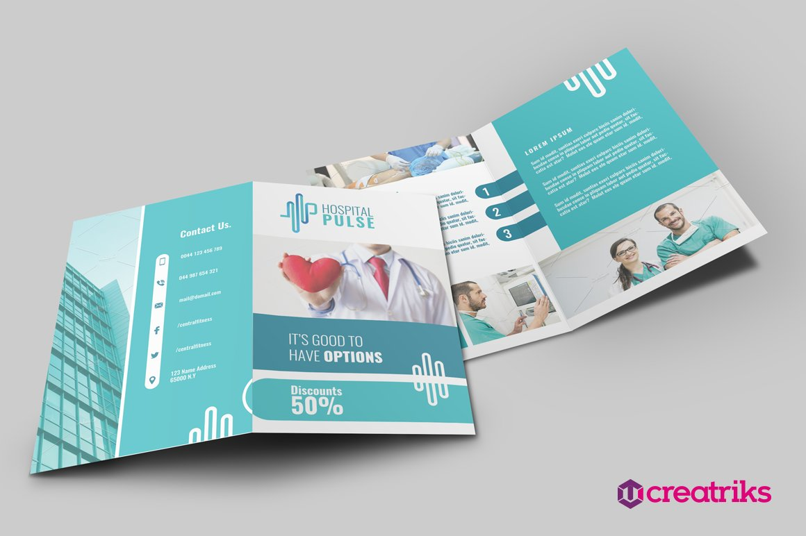 Hospital bi fold brochure brochure templates creative for Free bi fold brochure template 2