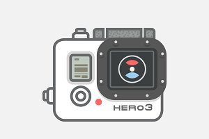 Video camera GoPro vector, icon