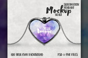 Sublimation Heart Necklace Mockup