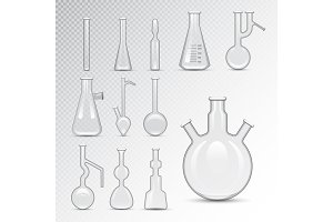 Chemical laboratory 3d lab flask glassware tube liquid biotechnology analysis and medical scientific equipment vector illustration.