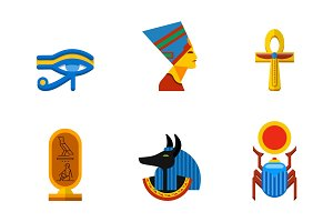 Set of vector flat design egypt travel icons culture ancient elements illustration.