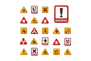 Prohibition signs set industry production vector yellow red warning danger symbol forbidden safety information and protection no allowed caution information.