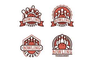 Vector bowling emblem and design element logotype template badge item design for sport league teams success equipment champion illustration.
