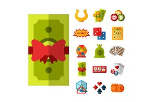 Casino game icons poker gambler symbols blackjack winning roulette joker slotbvector illustration.