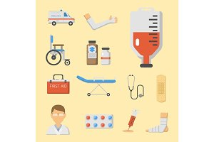 Medical icons set care ambulance hospital emergency human pharmacy vector illustration.
