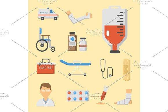 Medical Icons Set Care Ambulance Hospital Emergency Human Pharmacy Vector Illustration