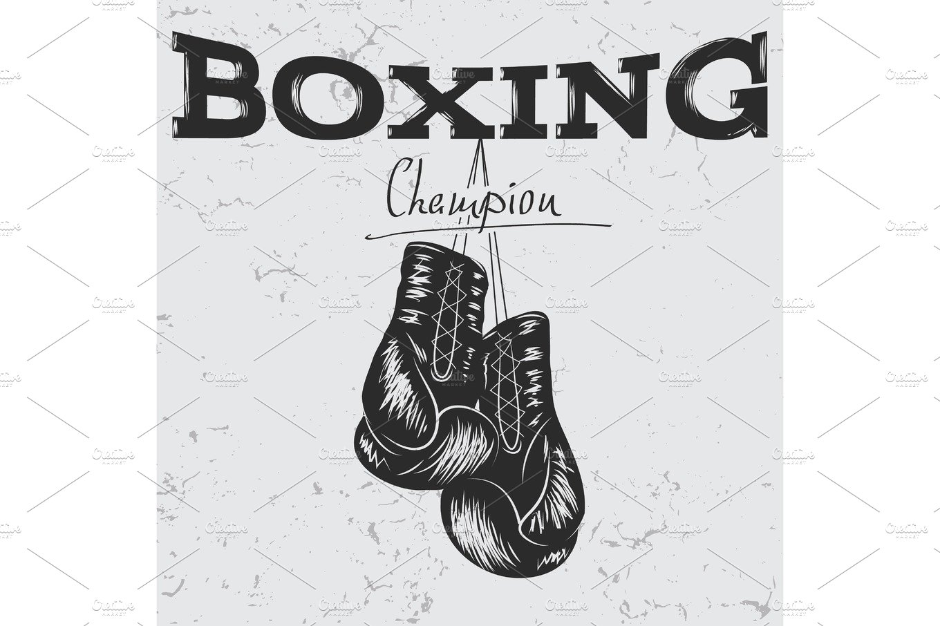 Old label with boxing gloves ~ Illustrations ~ Creative Market