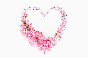 Heart made of pink Flowers