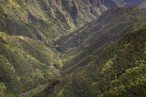 Aerial view over Kauai