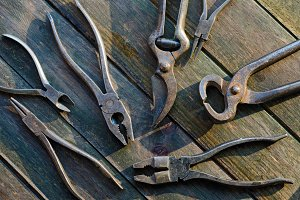 Pliers on Wood