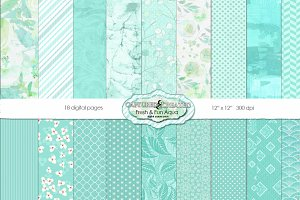 Fresh & Fun Aqua 18 Paper Pack