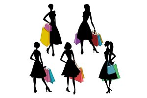 Silhouettes of women with bags