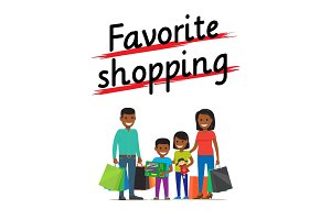 Favorite Family Shopping Process Icon on White
