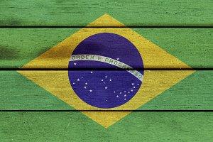 Brazil wooden flag