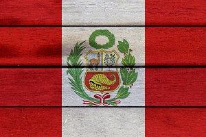 Peru wooden flag