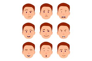 Young Cartoon Character Emotions Illustrations Set