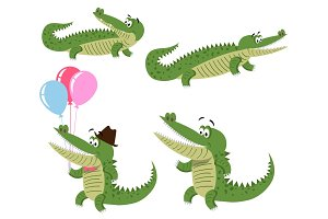Friendly Cartoon Crocodiles Illustrations Set