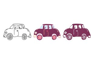 Set of hand drawn cars