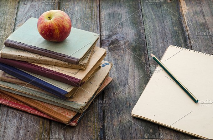 Books, Apple and Notebook - Education