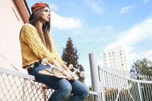 girl with longboard