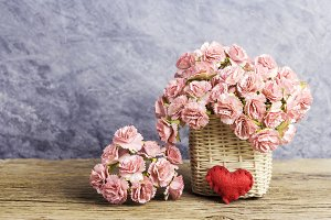 Paper carnation flowers with heart