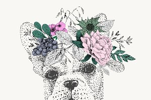 French bulldog in wreath of flowers